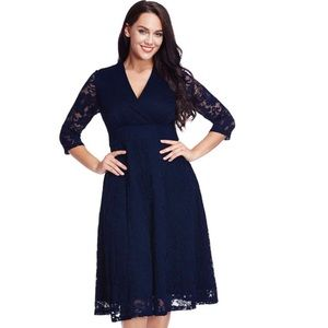 Dresses & Skirts - Navy Lace Formal Dress